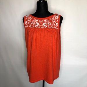 Talbots sleeveless embroidered orange tank…